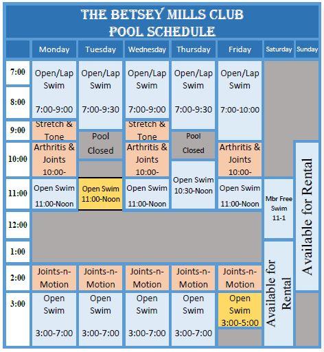 Pool Schedule Change 111318